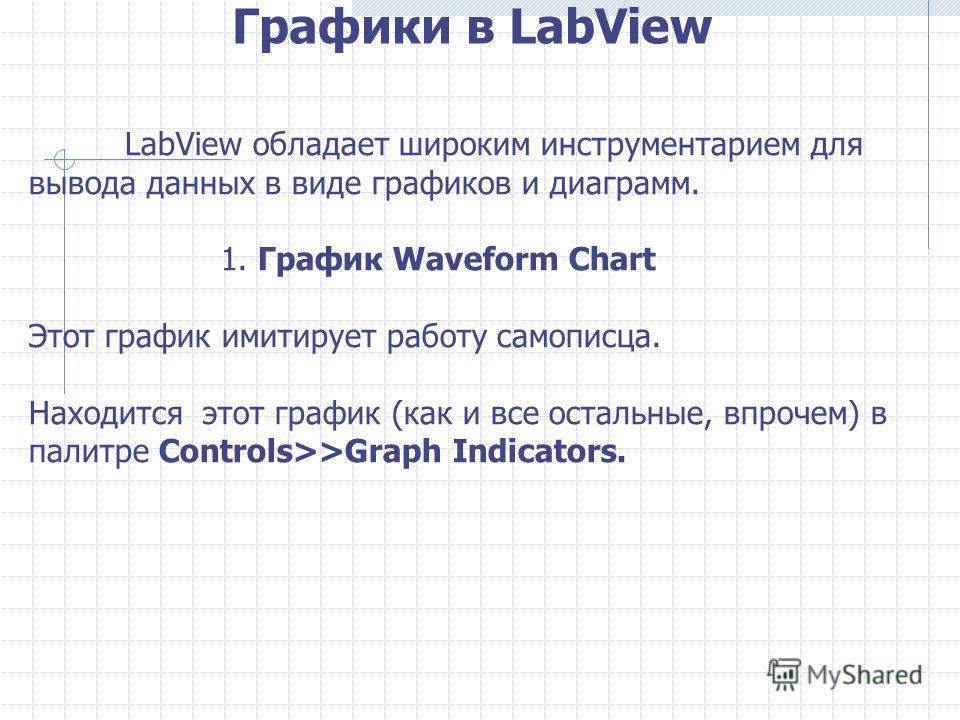 Графики в LabView LabView обладает широким инструментарием для вывода данных в виде графиков и диаграмм. 1. График Waveform Chart Этот график имитирует работу самописца. Находится этот график (как и все остальные, впрочем) в палитре Controls>>Graph I