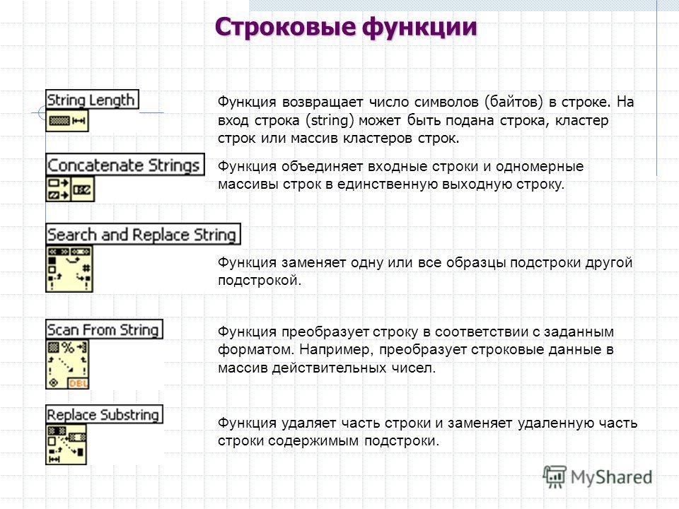 Функция возвращает число символов (байтов) в строке. На вход строка (string) может быть подана строка, кластер строк или массив кластеров строк. Функция объединяет входные строки и одномерные массивы строк в единственную выходную строку. Функция заме