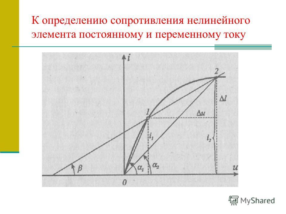 К определению сопротивления нелинейного элемента постоянному и переменному току