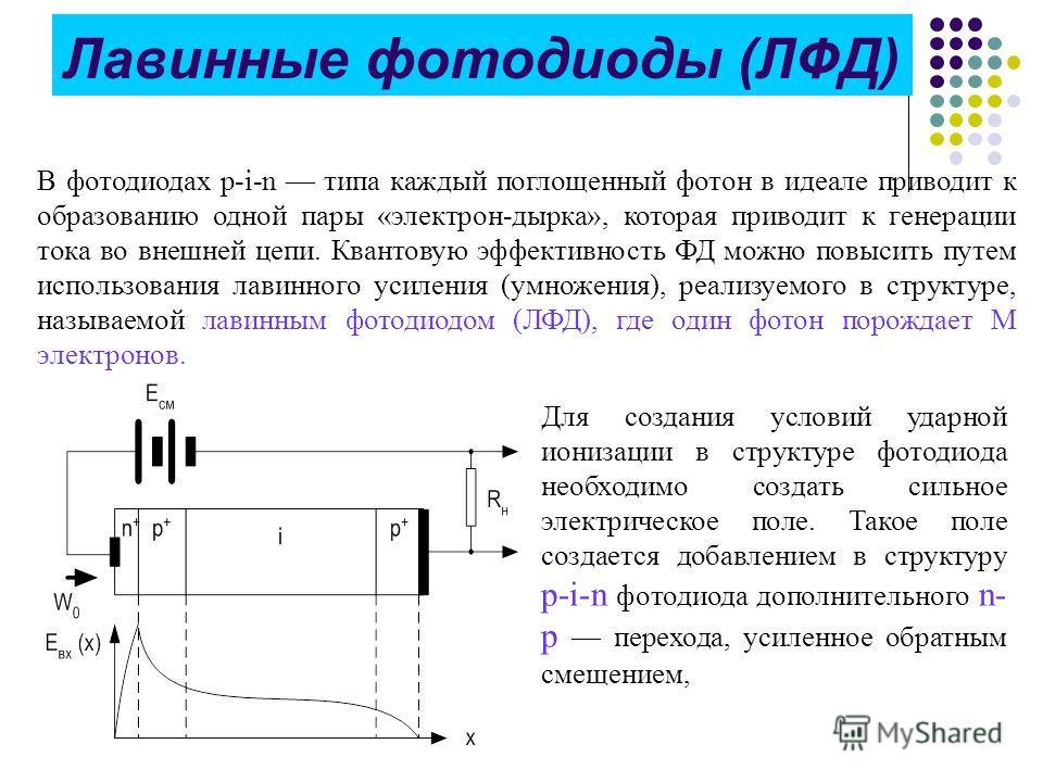Лавинные фотодиоды (ЛФД) В фотодиодах р-i-n типа каждый поглощенный фотон в идеале приводит к образованию одной пары «электрон-дырка», которая приводит к генерации тока во внешней цепи. Квантовую эффективность ФД можно повысить путем использования ла