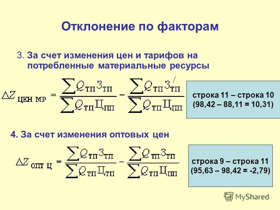 Отклонение по факторам 3. За счет изменения цен и тарифов на потребленные материальные ресурсы строка 11 – строка 10 (98,42 – 88,11 = 10,31) 4. За счет изменения оптовых цен строка 9 – строка 11 (95,63 – 98,42 = -2,79)