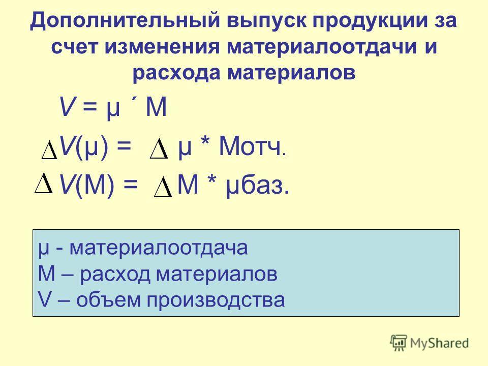 Дополнительный выпуск продукции за счет изменения материалоотдачи и расхода материалов V = µ ´ М V(µ) = µ * Мотч. V(М) = М * µбаз. µ - материалоотдача М – расход материалов V – объем производства