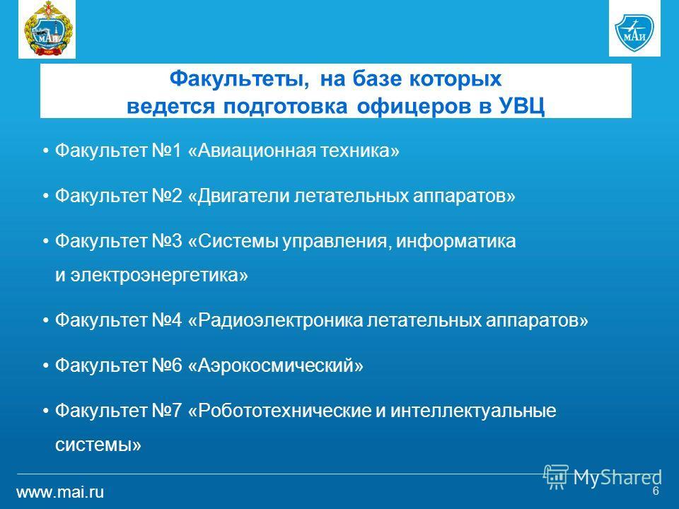www.mai.ru Факультеты, на базе которых ведется подготовка офицеров в УВЦ Факультет 1 «Авиационная техника» Факультет 2 «Двигатели летательных аппаратов» Факультет 3 «Системы управления, информатика и электроэнергетика» Факультет 4 «Радиоэлектроника л