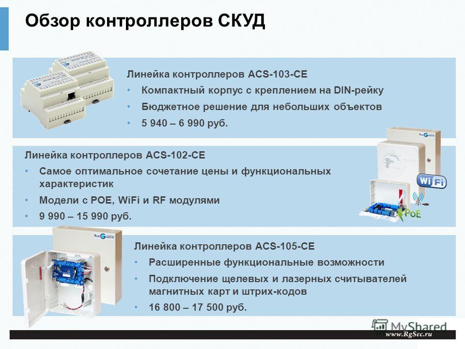 Обзор контроллеров СКУД Линейка контроллеров ACS-103-CE Компактный корпус с креплением на DIN-рейку Бюджетное решение для небольших объектов 5 940 – 6 990 руб. Линейка контроллеров ACS-102-CE Самое оптимальное сочетание цены и функциональных характер