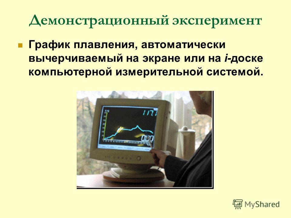 Демонстрационный эксперимент График плавления, автоматически вычерчиваемый на экране или на i-доске компьютерной измерительной системой.