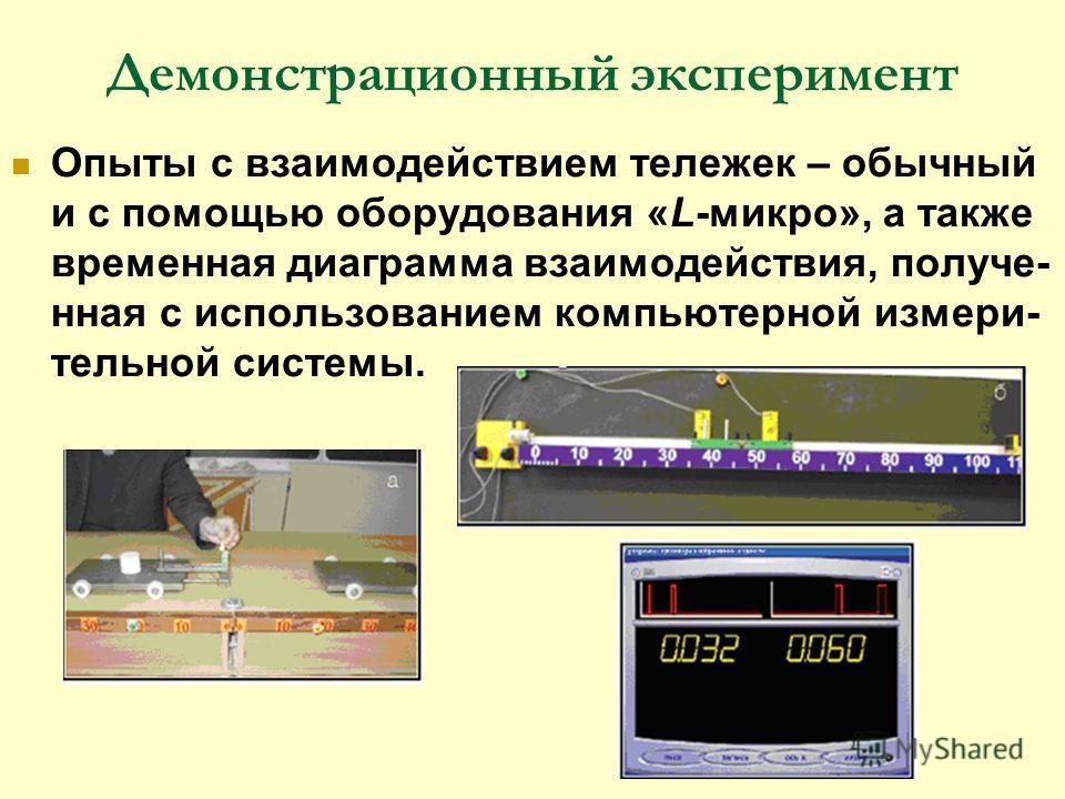 Демонстрационный эксперимент Опыты c взаимодействием тележек – обычный и с помощью оборудования «L-микро», а также временная диаграмма взаимодействия, получе- нная с использованием компьютерной измери- тельной системы.
