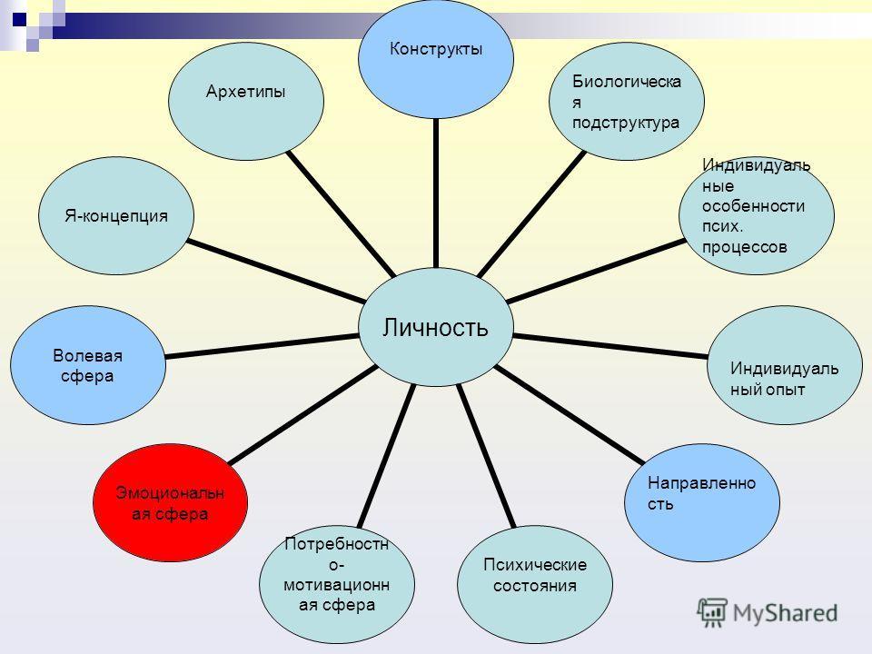 Личность КонструктыБиологическая подструктура Индивидуальные особенности псих. процессов Индивидуальный опыт Направленность Психические состояния Потребностно- мотивационная сфера Эмоциональная сфера Волевая сфераЯ-концепция Архетипы