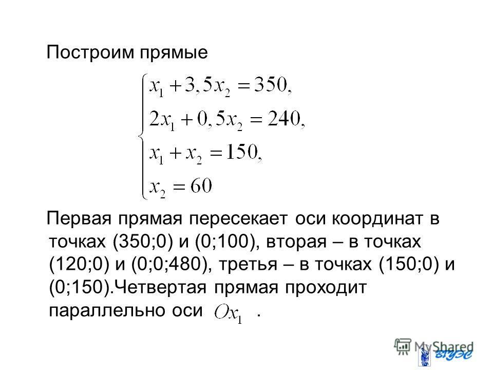 Построим прямые Первая прямая пересекает оси координат в точках (350;0) и (0;100), вторая – в точках (120;0) и (0;0;480), третья – в точках (150;0) и (0;150).Четвертая прямая проходит параллельно оси.