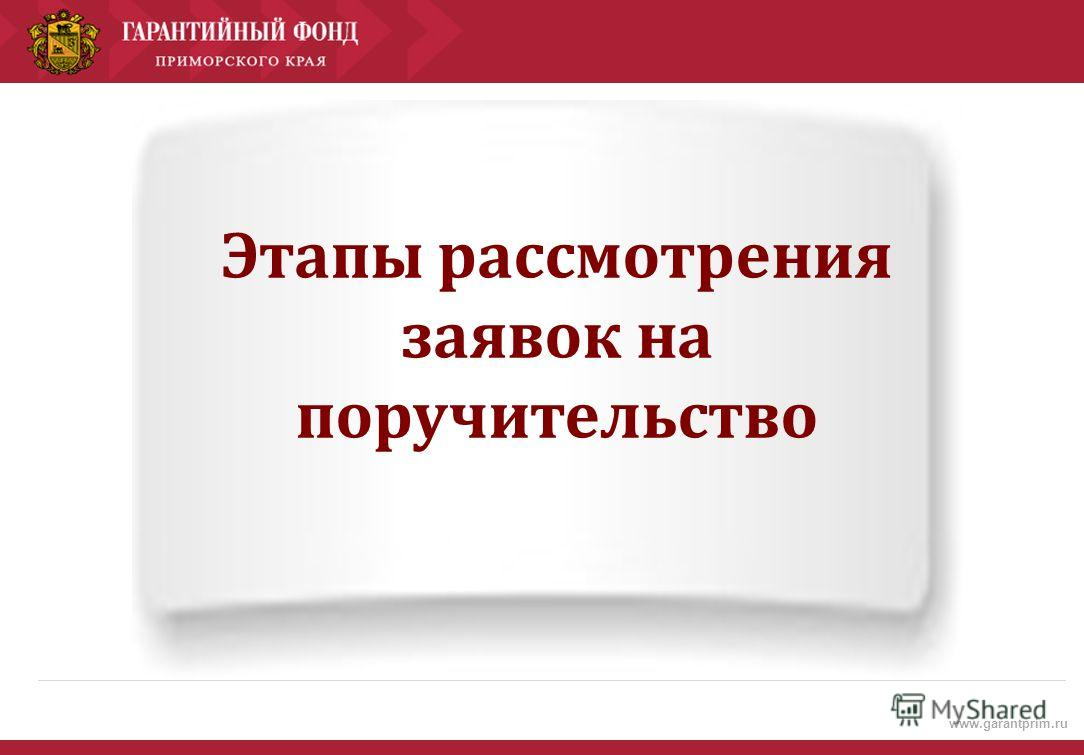 www.garantprim.ru Этапы рассмотрения заявок на поручительство