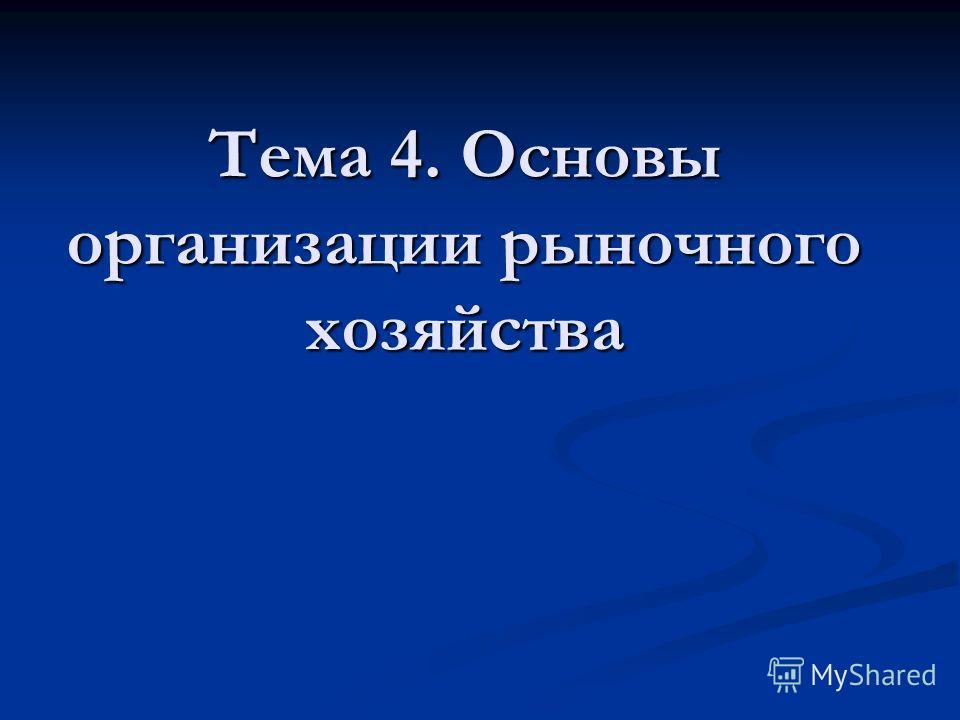 Тема 4. Основы организации рыночного хозяйства