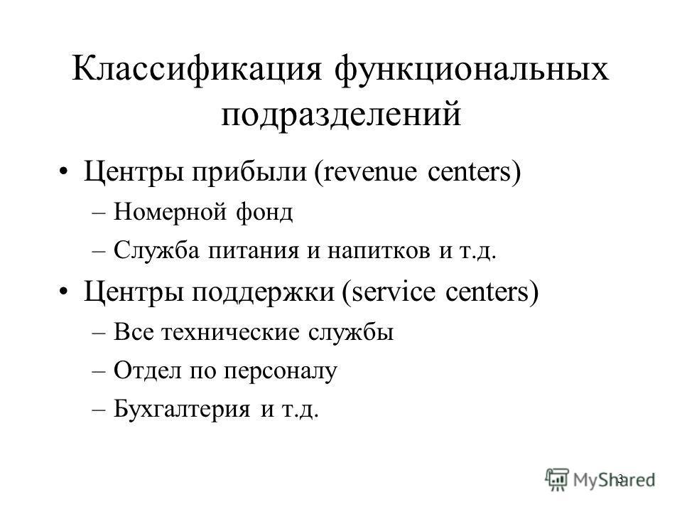 3 Классификация функциональных подразделений Центры прибыли (revenue centers) –Номерной фонд –Служба питания и напитков и т.д. Центры поддержки (service centers) –Все технические службы –Отдел по персоналу –Бухгалтерия и т.д.