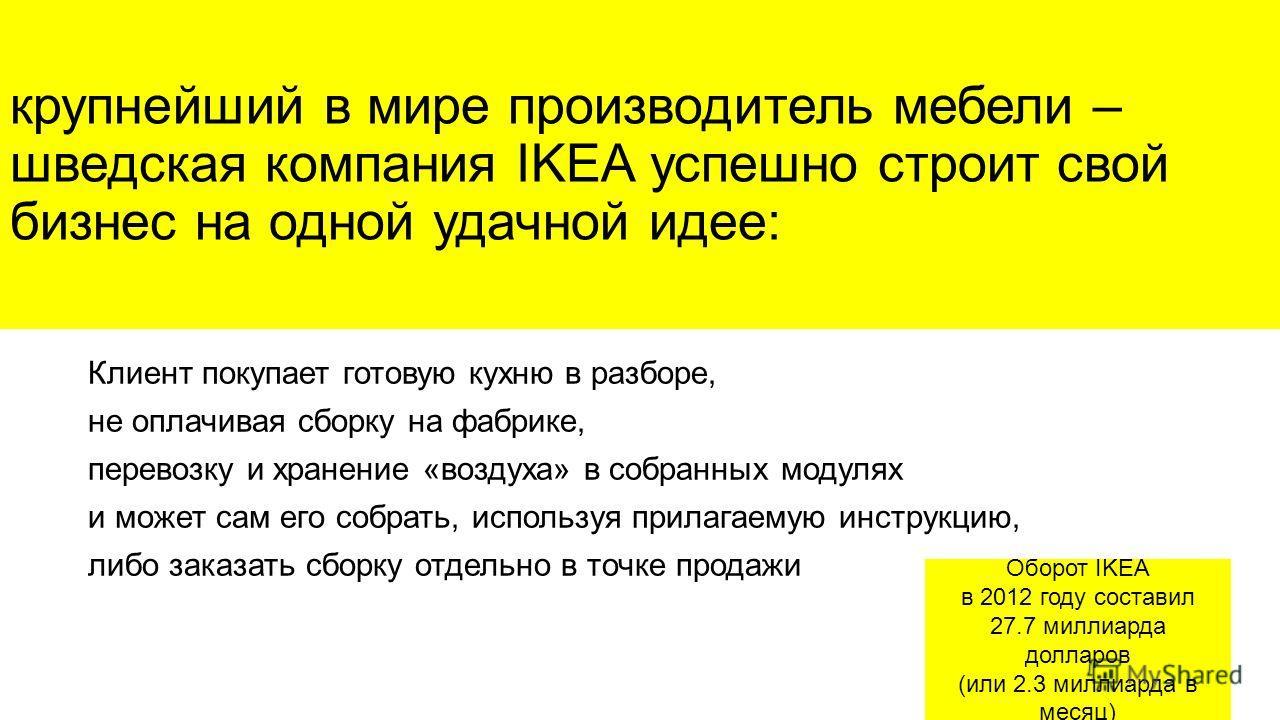 крупнейший в мире производитель мебели – шведская компания IKEA успешно строит свой бизнес на одной удачной идее: Клиент покупает готовую кухню в разборе, не оплачивая сборку на фабрике, перевозку и хранение «воздуха» в собранных модулях и может сам