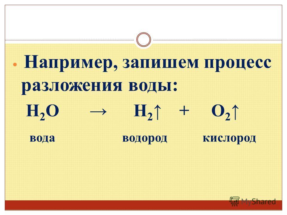 Например, запишем процесс разложения воды: H 2 O H 2 + O 2 вода водород кислород