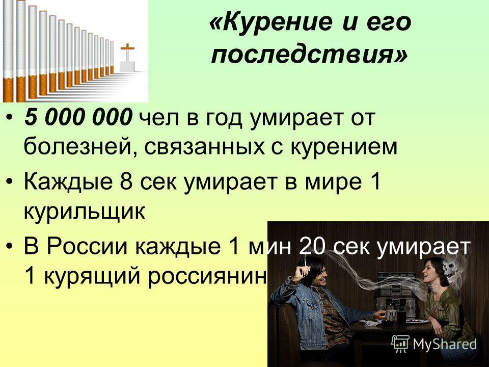16 «Курение и его последствия» 5 000 000 чел в год умирает от болезней, связанных с курением Каждые 8 сек умирает в мире 1 курильщик В России каждые 1 мин 20 сек умирает 1 курящий россиянин