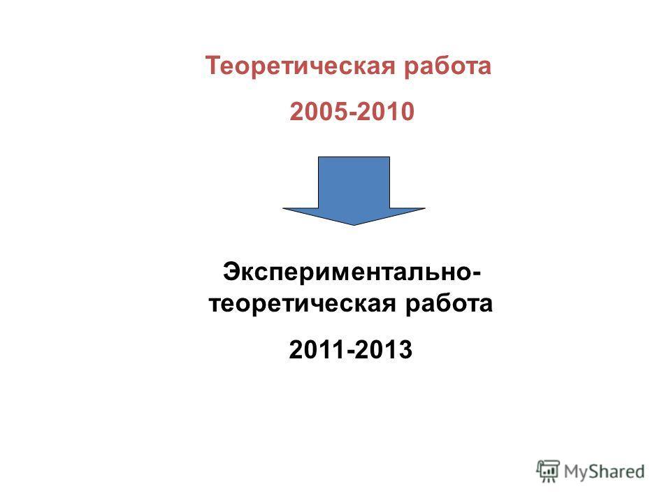 Теоретическая работа 2005-2010 Экспериментально- теоретическая работа 2011-2013