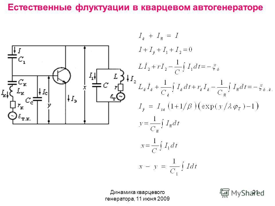 Динамика кварцевого генератора, 11 июня 2009 21 Естественные флуктуации в кварцевом автогенераторе