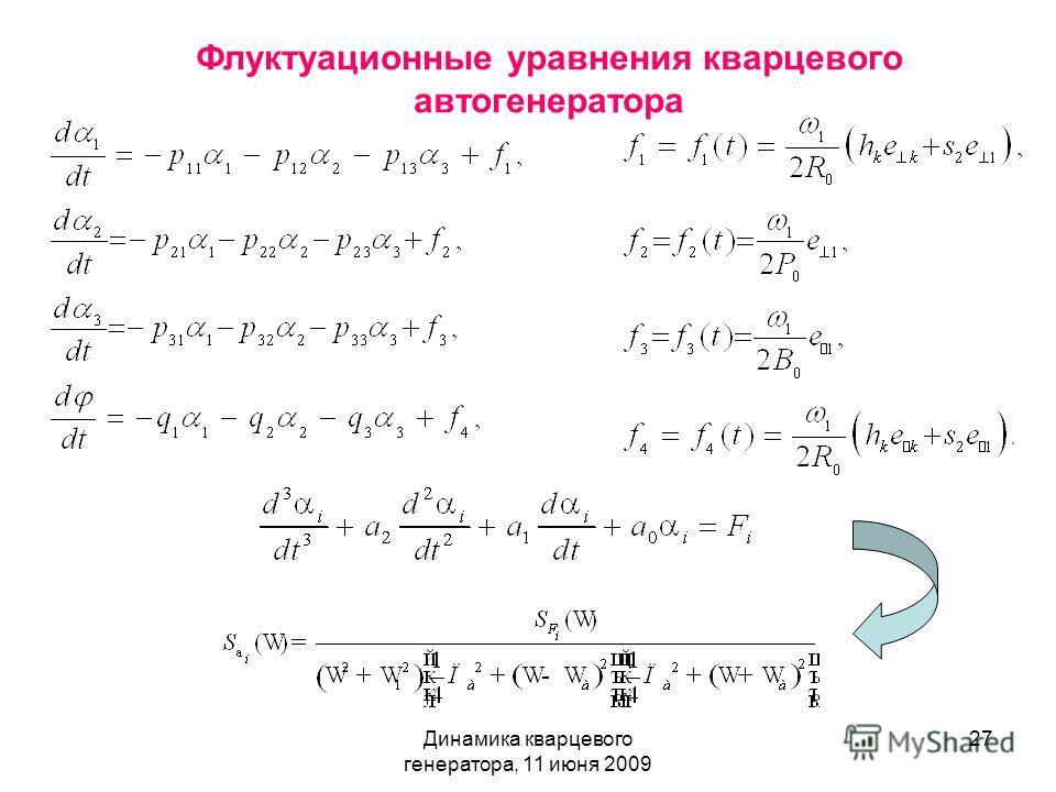 Динамика кварцевого генератора, 11 июня 2009 27 Флуктуационные уравнения кварцевого автогенератора