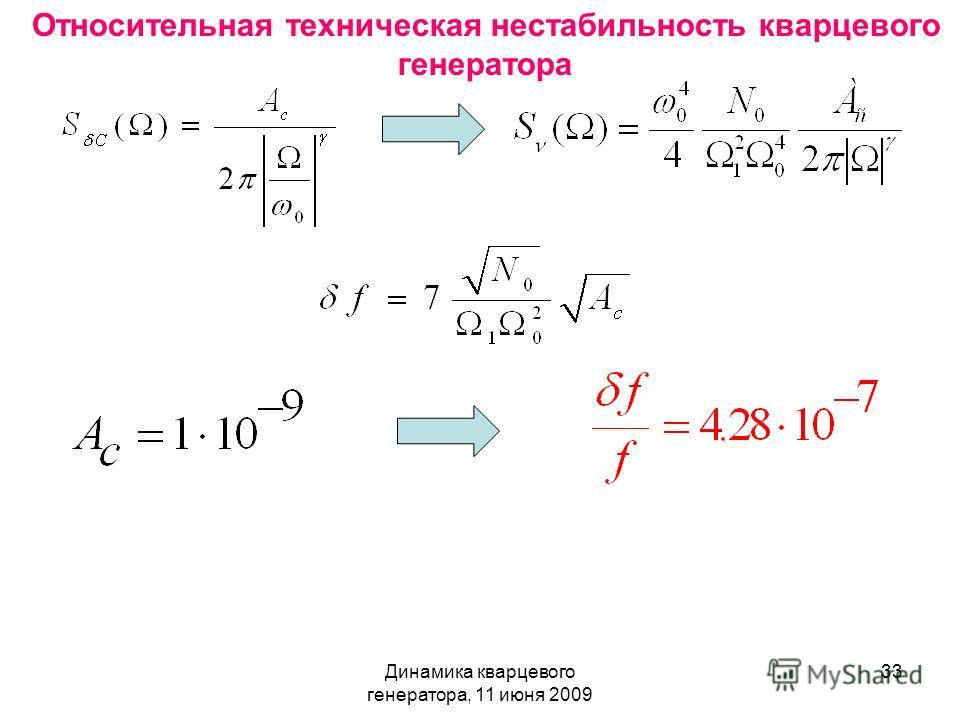 Динамика кварцевого генератора, 11 июня 2009 33 Относительная техническая нестабильность кварцевого генератора