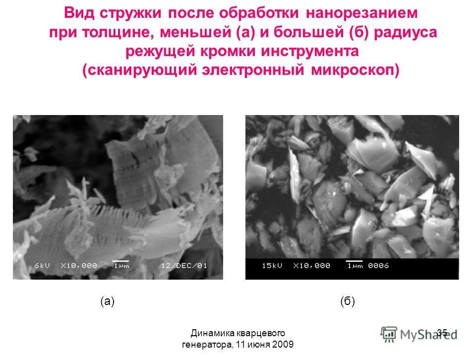 Динамика кварцевого генератора, 11 июня 2009 35 Вид стружки после обработки нанорезанием при толщине, меньшей (а) и большей (б) радиуса режущей кромки инструмента (сканирующий электронный микроскоп) (а)(б)