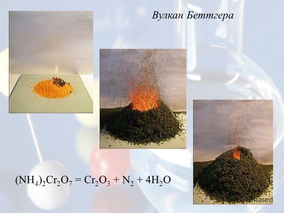 Вулкан Беттгера (NH 4 ) 2 Cr 2 O 7 = Сr 2 O 3 + N 2 + 4H 2 O