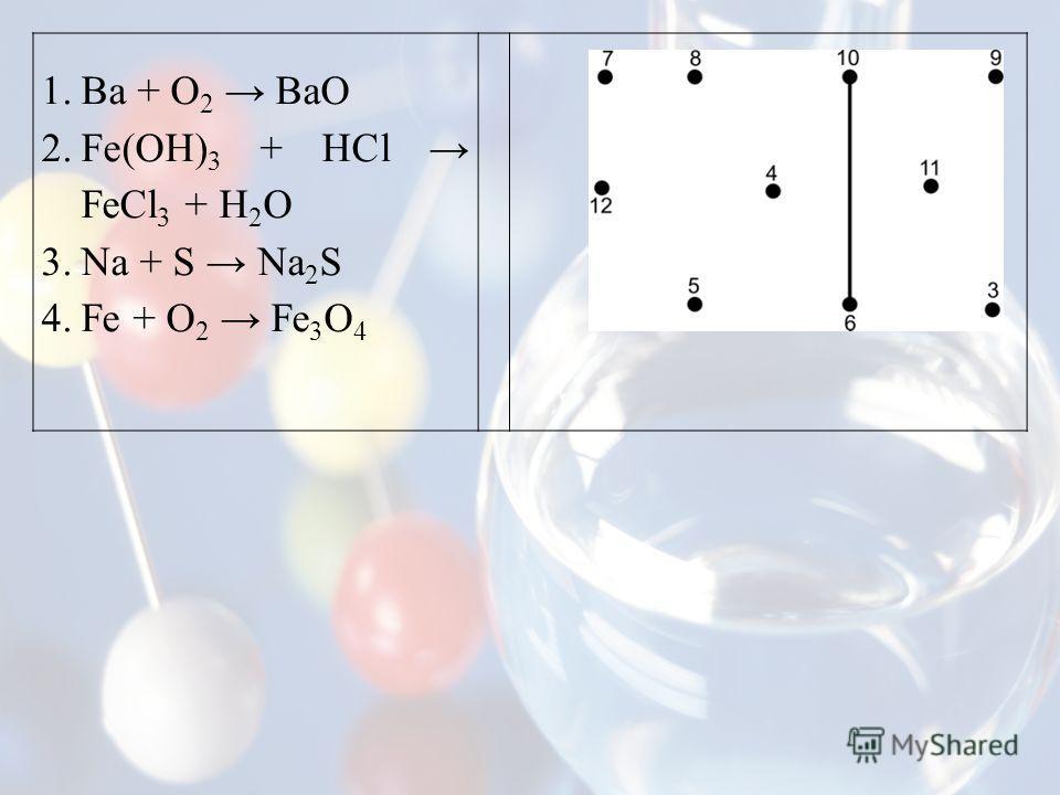 1.Ba + O 2 BaO 2.Fe(OH) 3 + HCl FeCl 3 + H 2 O 3.Na + S Na 2 S 4.Fe + O 2 Fe 3 O 4