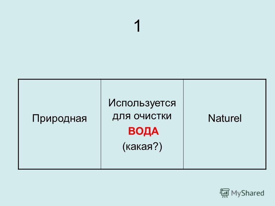 1 Природная Используется для очистки ВОДА (какая?) Naturel