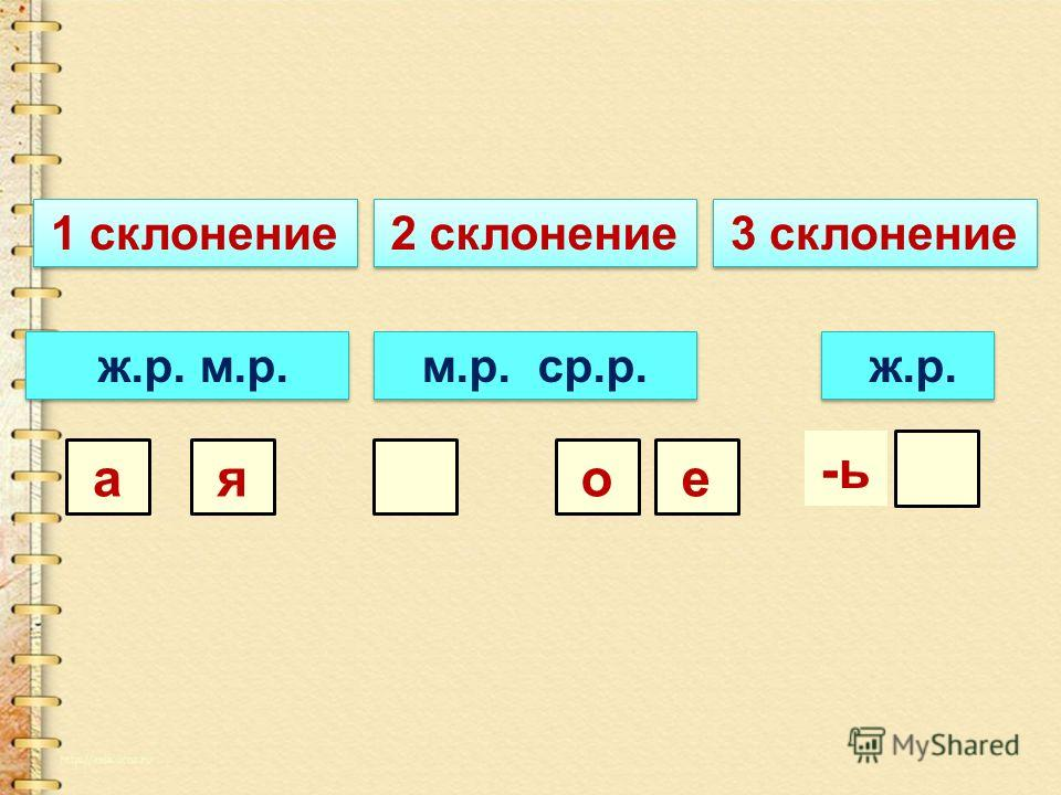 1 склонение 2 склонение 3 склонение ж.р. м.р. ая м.р. ср.р. ео ж.р. -ь