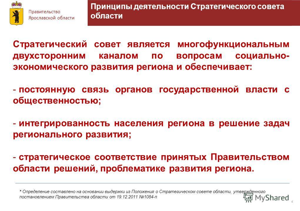 Правительство Ярославской области Принципы деятельности Стратегического совета области 4 Стратегический совет является многофункциональным двухсторонним каналом по вопросам социально- экономического развития региона и обеспечивает: - постоянную связь