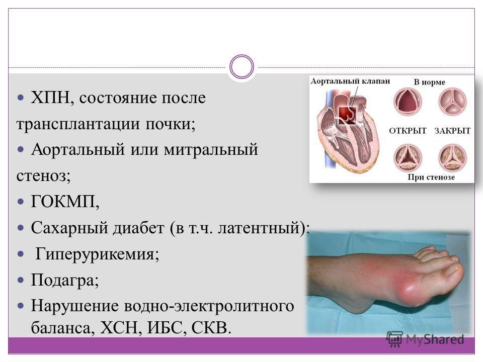ХПН, состояние после трансплантации почки; Аортальный или митральный стеноз; ГОКМП, Сахарный диабет (в т.ч. латентный); Гиперурикемия; Подагра; Нарушение водно-электролитного баланса, ХСН, ИБС, СКВ.