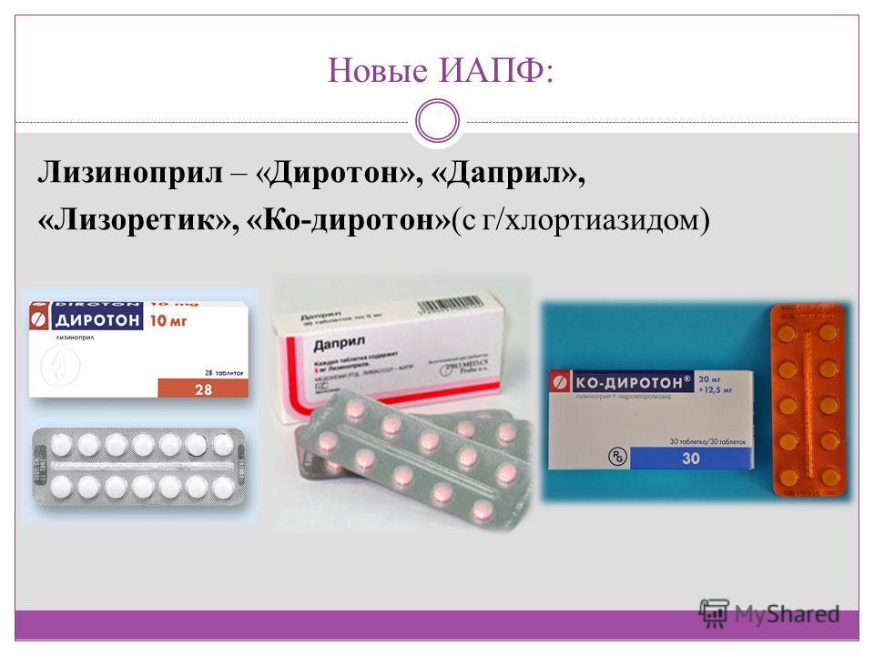 Новые ИАПФ: Лизиноприл – «Диротон», «Даприл», «Лизоретик», «Ко-диротон»(с г/хлортиазидом)