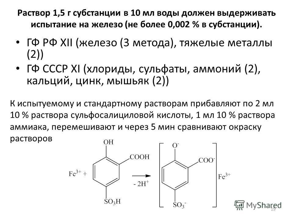 Раствор 1,5 г субстанции в 10 мл воды должен выдерживать испытание на железо (не более 0,002 % в субстанции). ГФ РФ XII (железо (3 метода), тяжелые металлы (2)) ГФ СССР XI (хлориды, сульфаты, аммоний (2), кальций, цинк, мышьяк (2)) К испытуемому и ст
