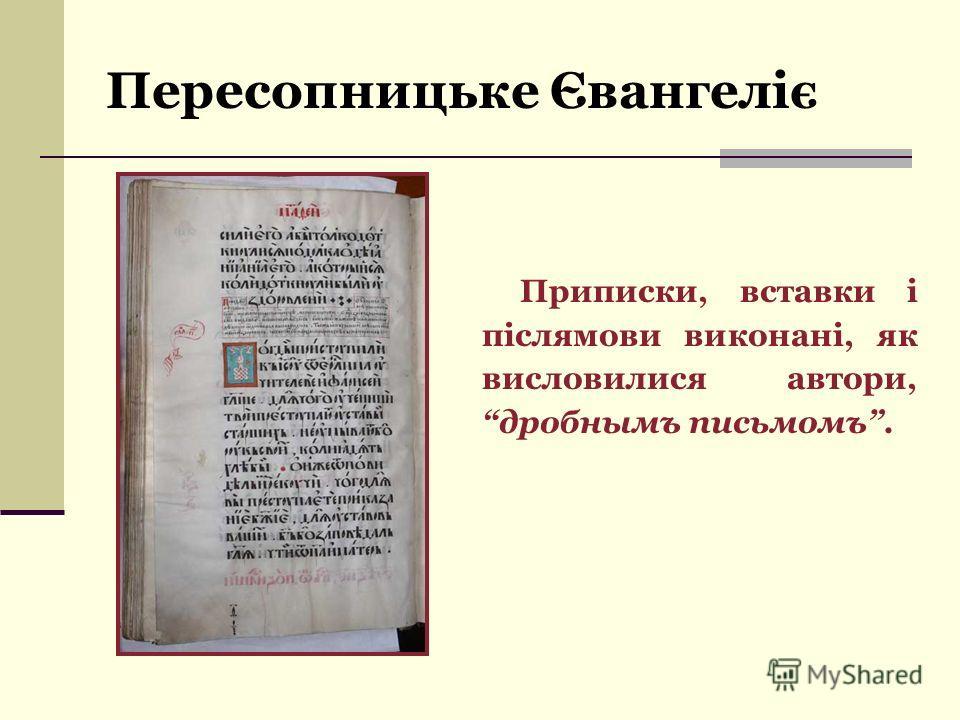 Приписки, вставки і післямови виконані, як висловилися автори, дробнымъ письмомъ.