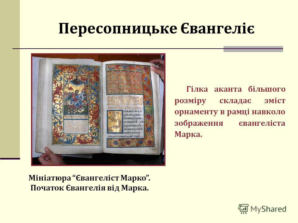 Пересопницьке Євангеліє Гілка аканта більшого розміру складає зміст орнаменту в рамці навколо зображення євангеліста Марка. Мініатюра Євангеліст Марко. Початок Євангелія від Марка.