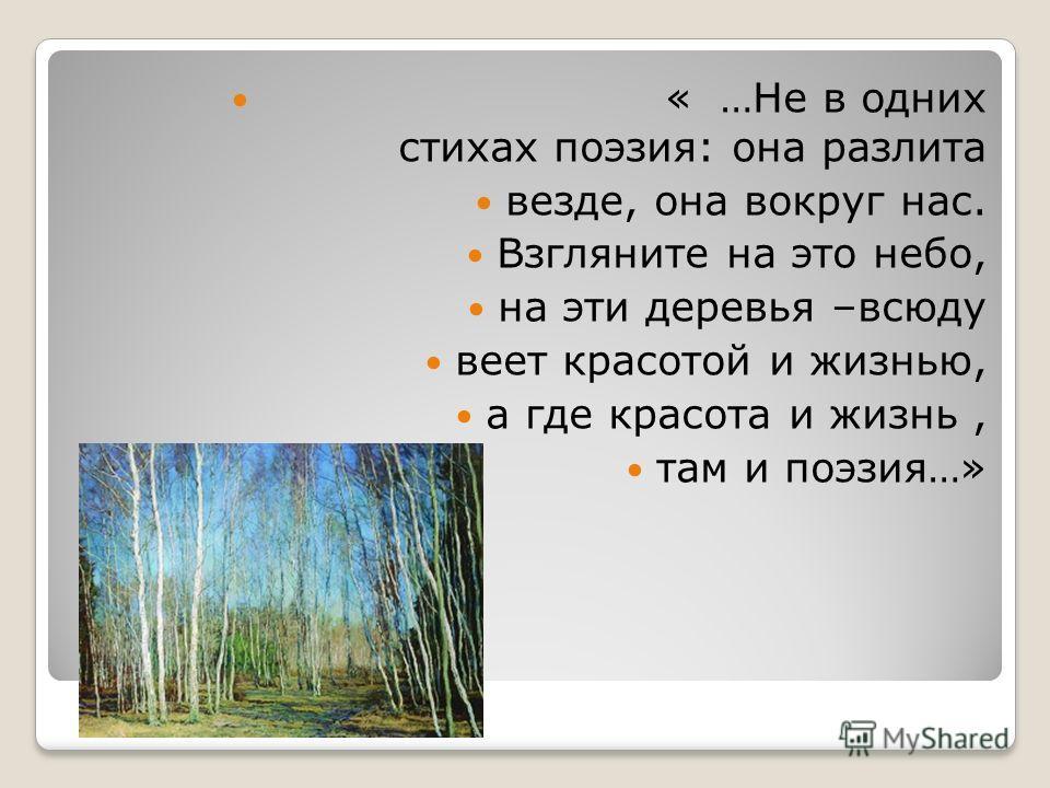 « …Не в одних стихах поэзия: она разлита везде, она вокруг нас. Взгляните на это небо, на эти деревья –всюду веет красотой и жизнью, а где красота и жизнь, там и поэзия…»