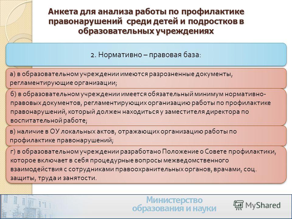 Анкета для анализа работы по профилактике правонарушений среди детей и подростков в образовательных учреждениях 2. Нормативно – правовая база : а ) в образовательном учреждении имеются разрозненные документы, регламентирующие организации ; б ) в обра