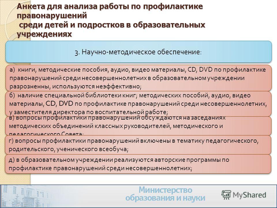 Анкета для анализа работы по профилактике правонарушений среди детей и подростков в образовательных учреждениях 3. Научно - методическое обеспечение : а ) книги, методические пособия, аудио, видео материалы, CD, DVD по профилактике правонарушений сре