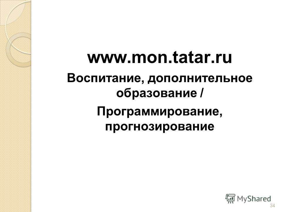 www.mon.tatar.ru Воспитание, дополнительное образование / Программирование, прогнозирование 34