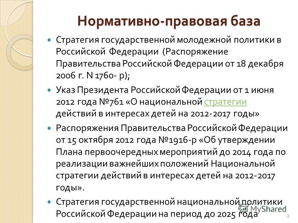 Нормативно - правовая база Стратегия государственной молодежной политики в Российской Федерации ( Распоряжение Правительства Российской Федерации от 18 декабря 2006 г. N 1760- р ); Указ Президента Российской Федерации от 1 июня 2012 года 761 « О наци