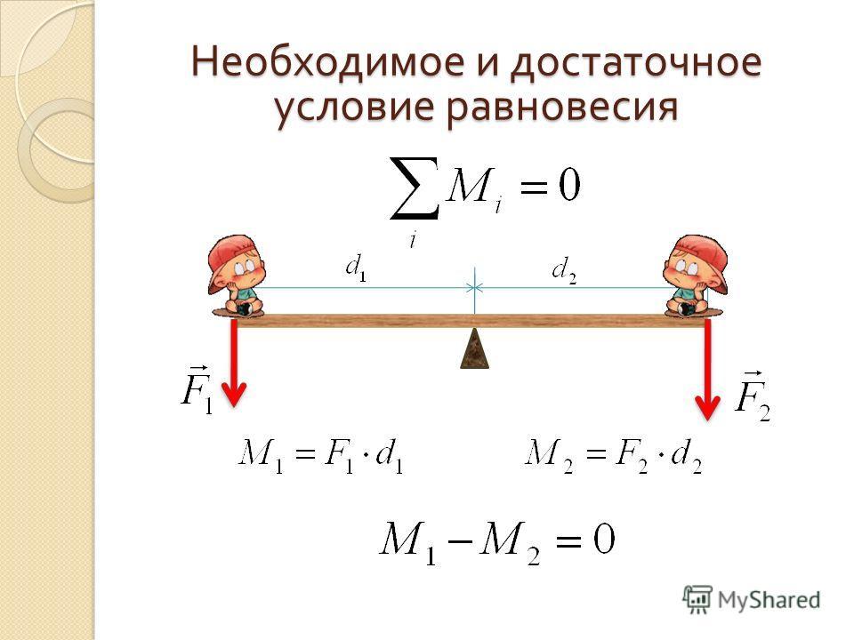 Необходимое и достаточное условие равновесия