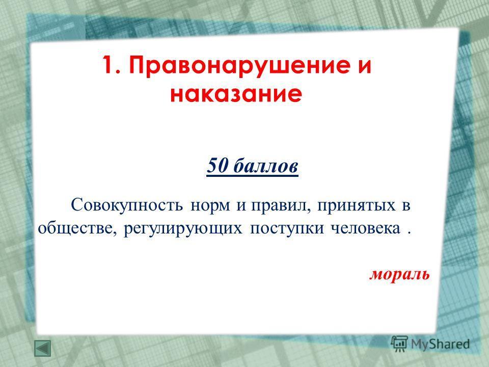 1. Правонарушение и наказание 50 баллов Совокупность норм и правил, принятых в обществе, регулирующих поступки человека. мораль