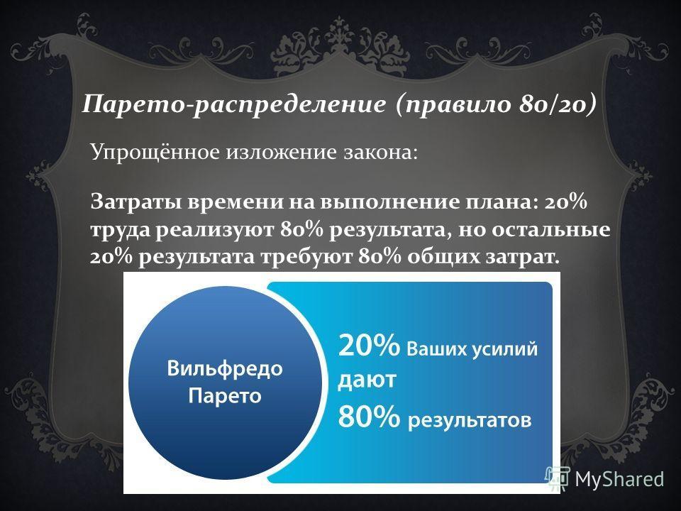 Парето-распределение (правило 80/20) Упрощённое изложение закона: Затраты времени на выполнение плана: 20% труда реализуют 80% результата, но остальные 20% результата требуют 80% общих затрат.