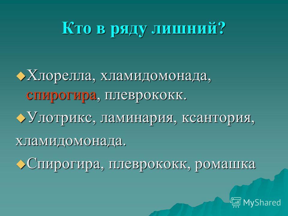 Кто в ряду лишний? Хлорелла, хламидомонада, спирогира, плеврококк. Хлорелла, хламидомонада, спирогира, плеврококк. Улотрикс, ламинария, ксантория, Улотрикс, ламинария, ксантория,хламидомонада. Спирогира, плеврококк, ромашка Спирогира, плеврококк, ром