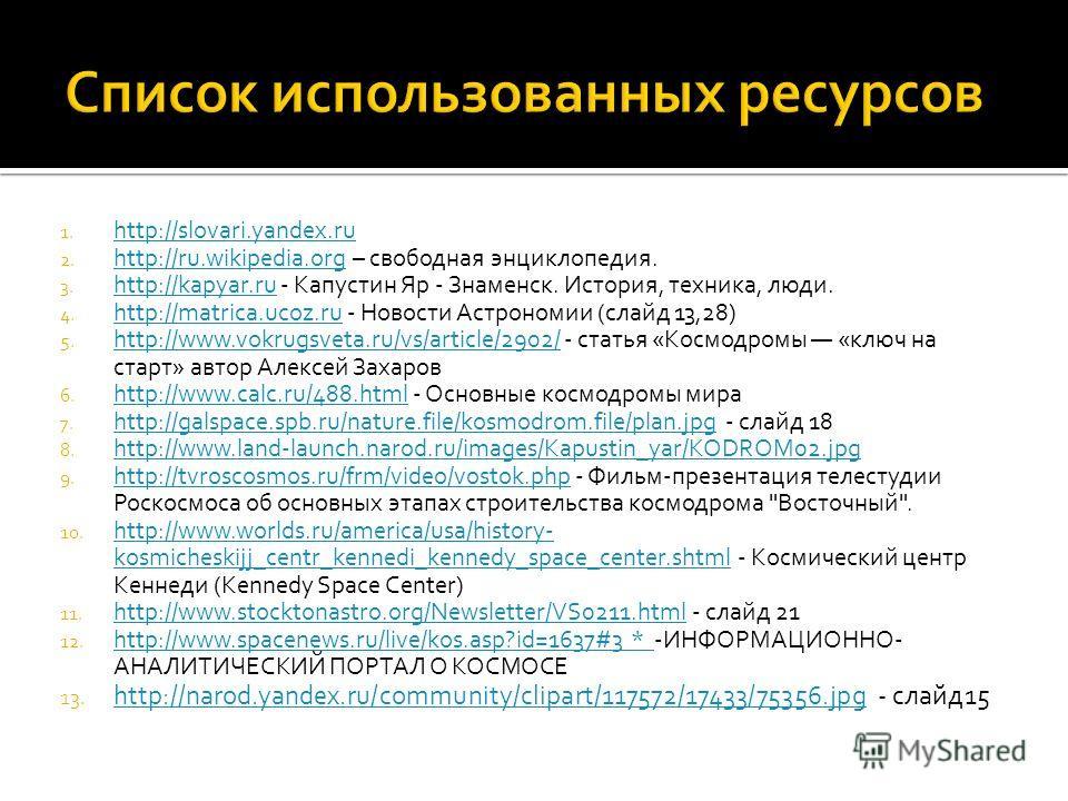 1. http://slovari.yandex.ru http://slovari.yandex.ru 2. http://ru.wikipedia.org – свободная энциклопедия. http://ru.wikipedia.org 3. http://kapyar.ru - Капустин Яр - Знаменск. История, техника, люди. http://kapyar.ru 4. http://matrica.ucoz.ru - Новос