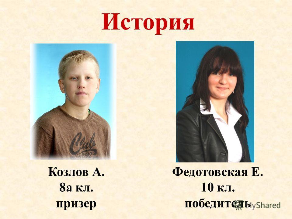 История Козлов А. 8а кл. призер Федотовская Е. 10 кл. победитель