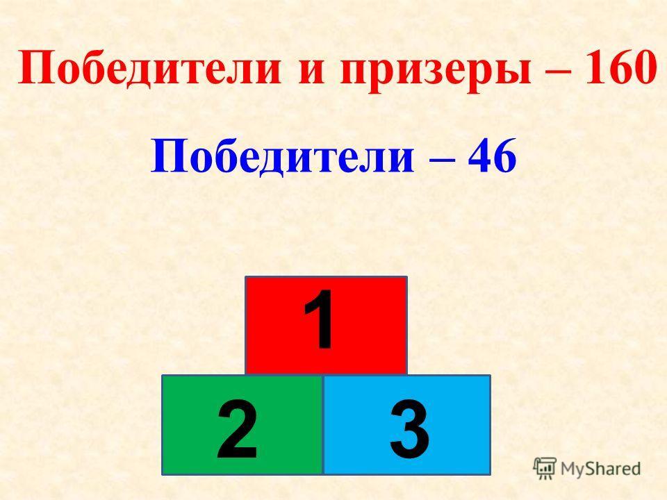 Победители и призеры – 160 Победители – 46 1 32