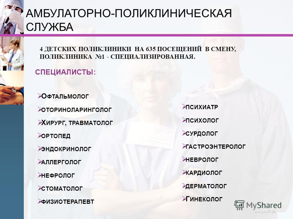 Сынкова Г.Ф. АМБУЛАТОРНО-ПОЛИКЛИНИЧЕСКАЯ СЛУЖБА О ФТАЛЬМОЛОГ ОТОРИНОЛАРИНГОЛОГ Х ИРУРГ, ТРАВМАТОЛОГ ОРТОПЕД ЭНДОКРИНОЛОГ АЛЛЕРГОЛОГ НЕФРОЛОГ СТОМАТОЛОГ ФИЗИОТЕРАПЕВТ 4 ДЕТСКИХ ПОЛИКЛИНИКИ НА 635 ПОСЕЩЕНИЙ В СМЕНУ, ПОЛИКЛИНИКА 1 - СПЕЦИАЛИЗИРОВАННАЯ.