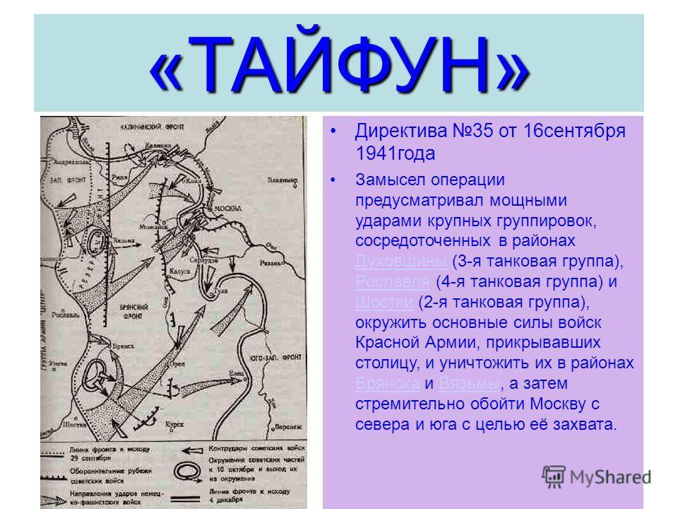 «ТАЙФУН» Директива 35 от 16сентября 1941года Замысел операции предусматривал мощными ударами крупных группировок, сосредоточенных в районах Духовщины (3-я танковая группа), Рославля (4-я танковая группа) и Шостки (2-я танковая группа), окружить основ