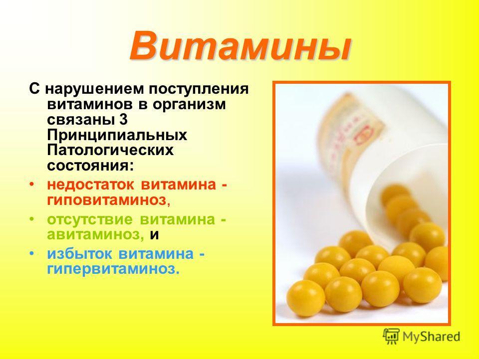 Витамины С нарушением поступления витаминов в организм связаны 3 Принципиальных Патологических состояния: недостаток витамина - гиповитаминоз, отсутствие витамина - авитаминоз, и избыток витамина - гипервитаминоз.