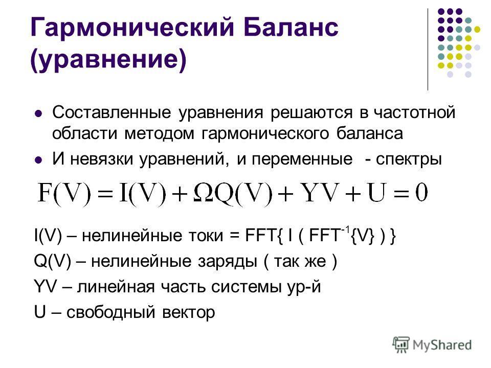 Гармонический Баланс (уравнение) Составленные уравнения решаются в частотной области методом гармонического баланса И невязки уравнений, и переменные - спектры I(V) – нелинейные токи = FFT{ I ( FFT -1 {V} ) } Q(V) – нелинейные заряды ( так же ) YV –