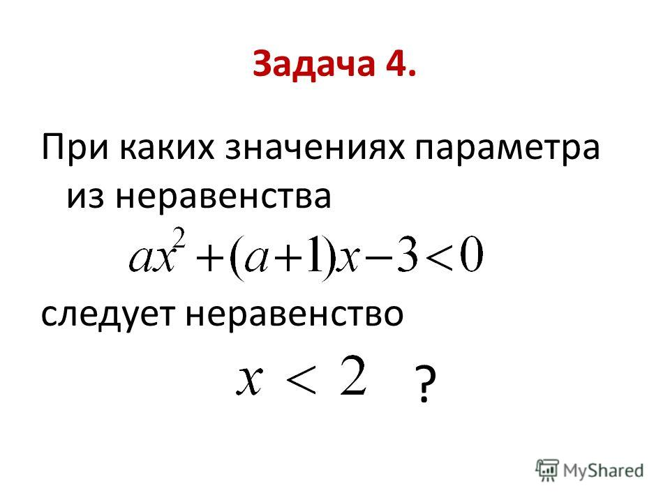 Задача 4. При каких значениях параметра из неравенства следует неравенство ?